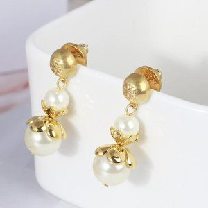Tory Burch Earrings Gold Pearl Belle Flower Drop